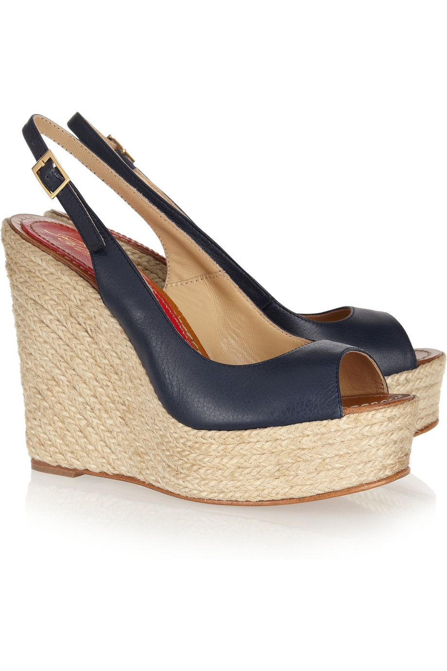 Lyst Paloma Barcel 243 Leather Espadrille Wedge Sandals In Blue