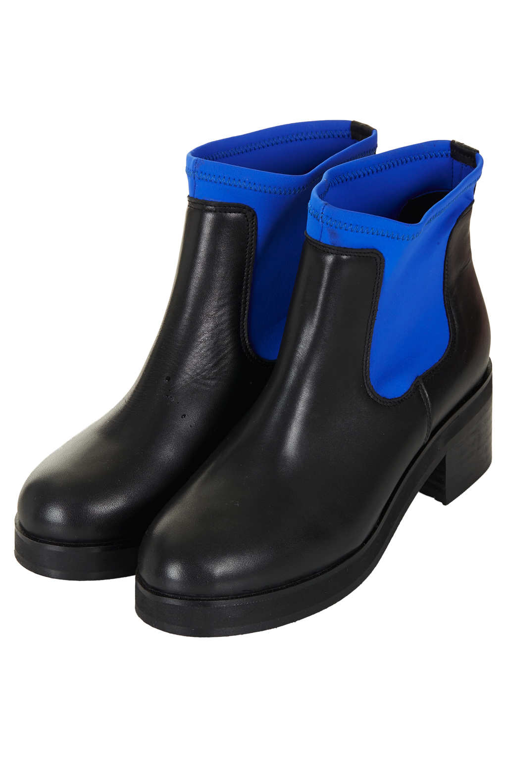 TOPSHOP Abigail Neoprene Ankle Boots in Blue Black (Blue)