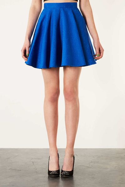 topshop jacquard swing skirt in blue lyst