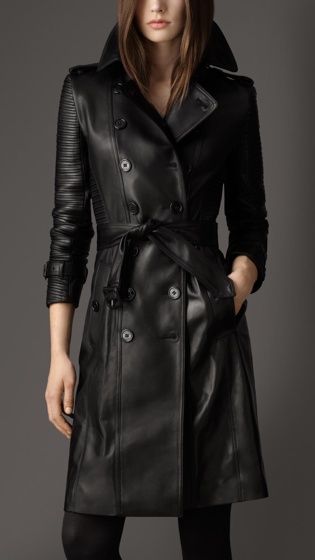 Leather trench coats for women