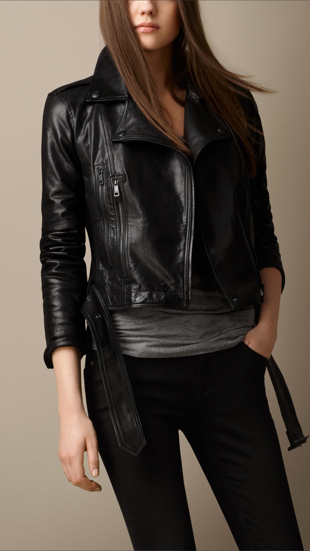 Burberry Brit Trench Belt Leather Biker Jacket In Black Lyst