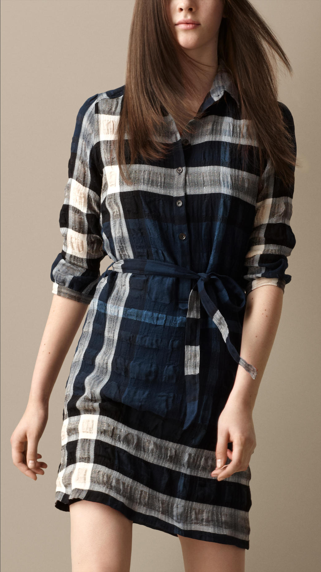 Lyst burberry cotton blend check shirt dress in blue for Burberry brit green plaid shirt
