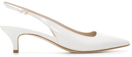 zara kitten heel synthetic patent leather sling back shoes