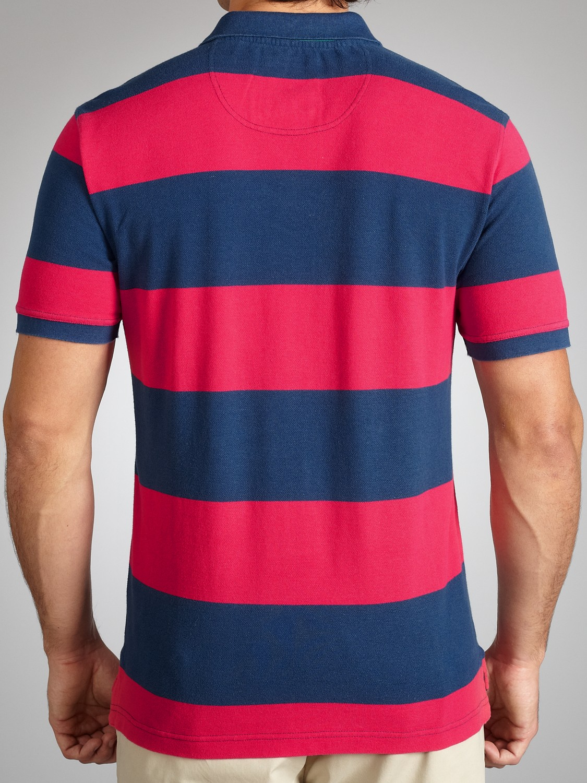 Crew Cotton Oxford Stripe Polo Shirt in Blue for Men