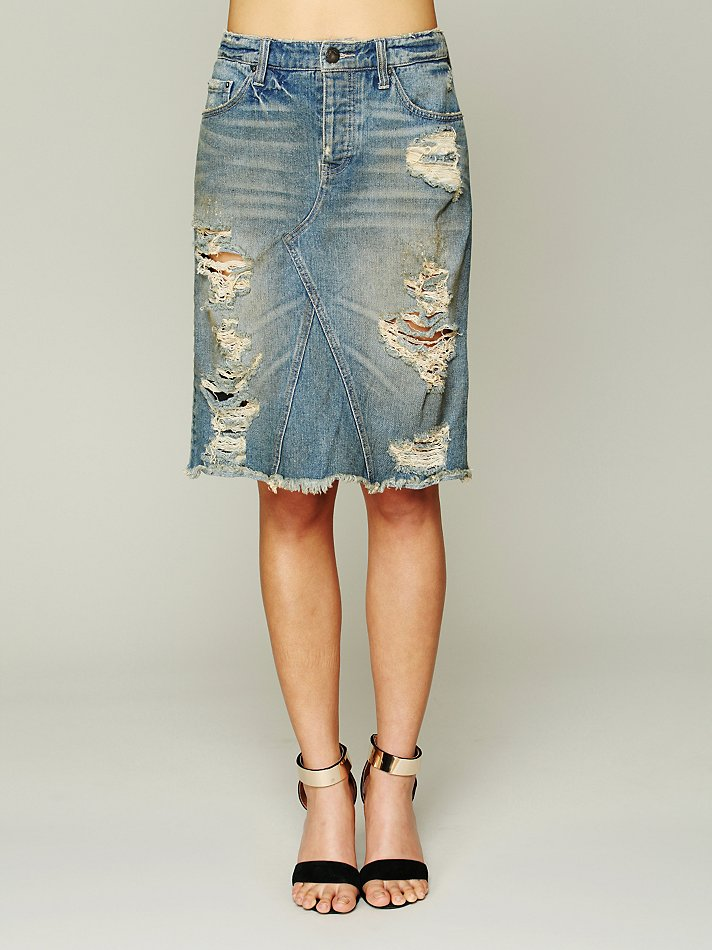 Free people Womens La Lady Denim Skirt in Blue | Lyst