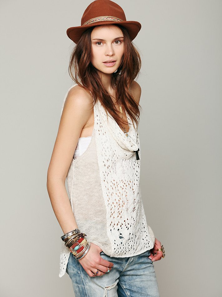 Free people Cowl Neck Sleeveless Sweater in White | Lyst