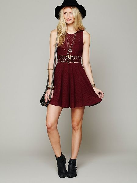 Free People Fitted With Daisies Dress In Purple Merlot