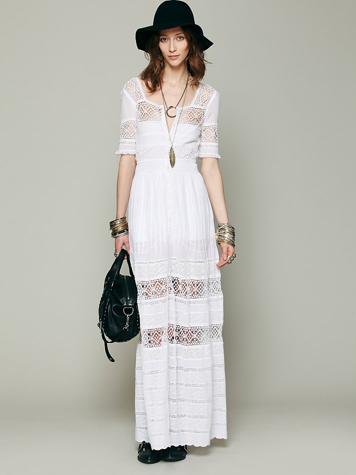 Free People Mix In The Crochet Dress In White Lyst