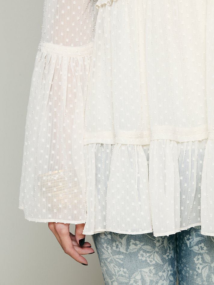 Free People Swiss Dot Bell Sleeve Blouse in White - Lyst