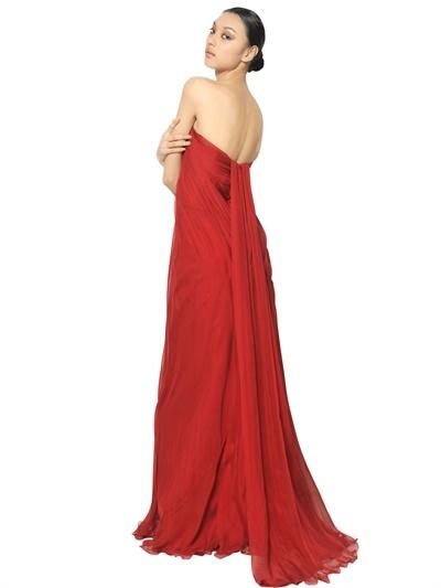 Alexander Mcqueen Multi Layer Silk Chiffon Dress In Red Lyst
