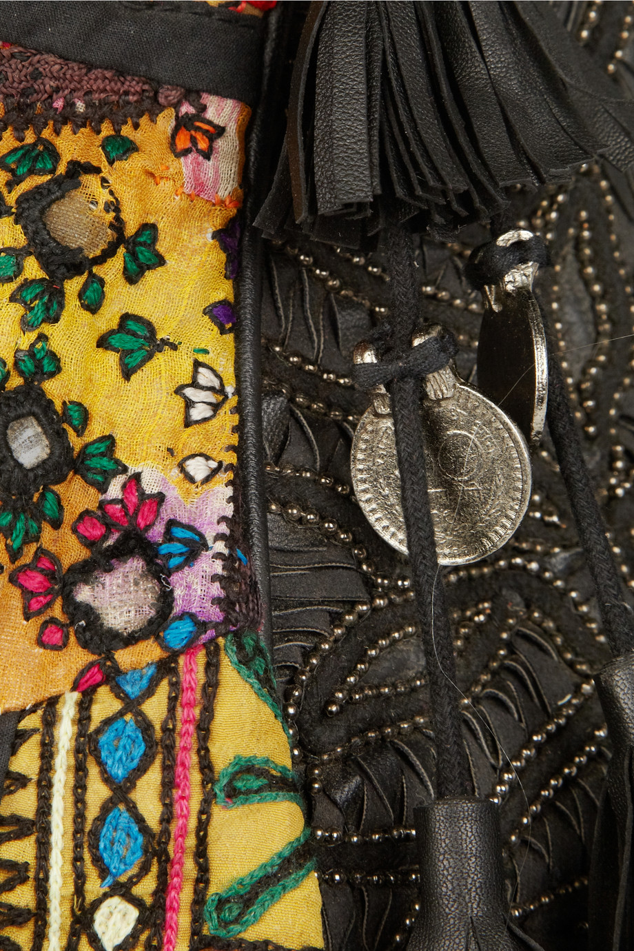 Lyst Antik Batik Leathertrimmed Embroidered Cotton