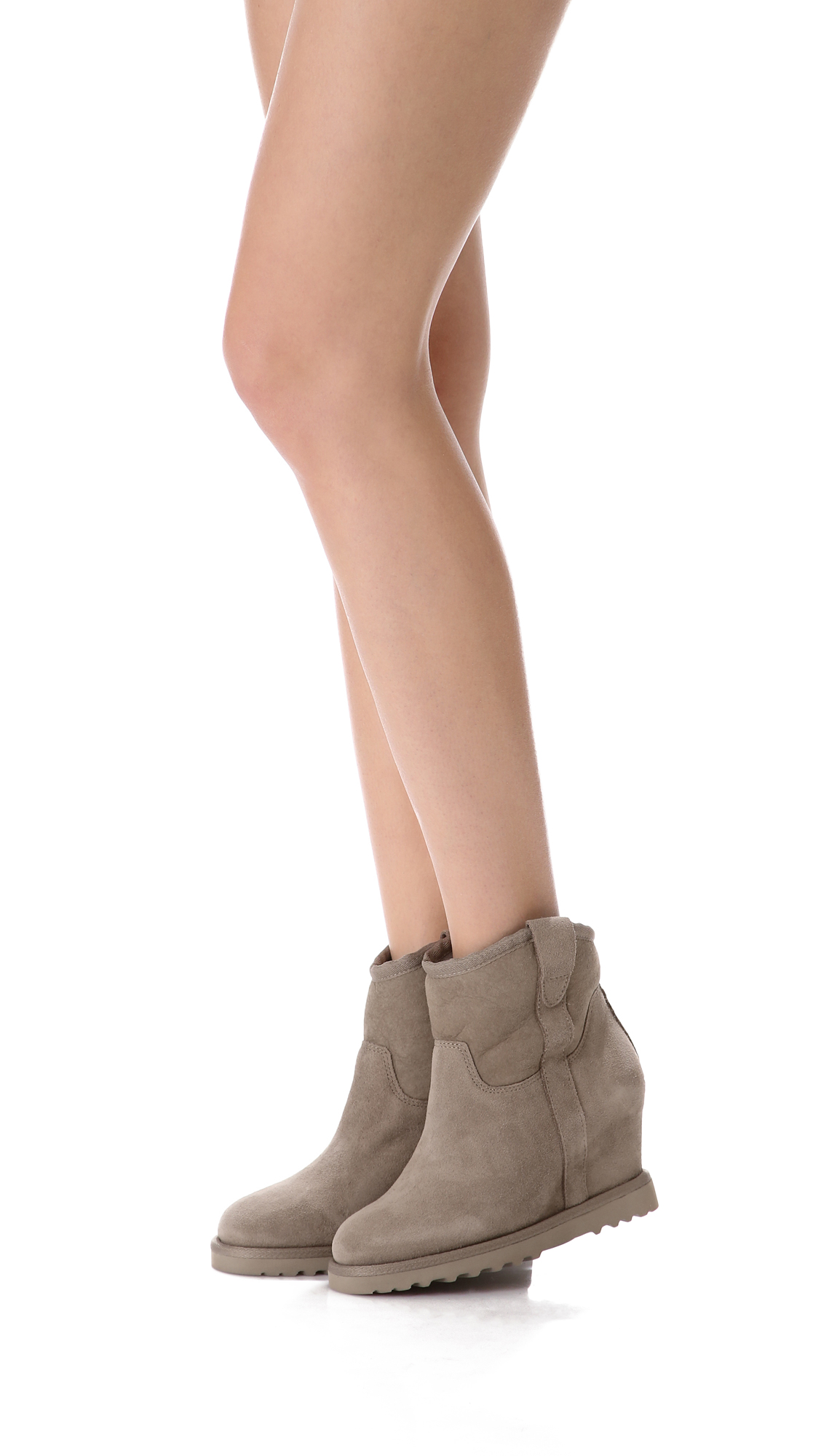 ash yahoo suede wedge boots in gray lyst
