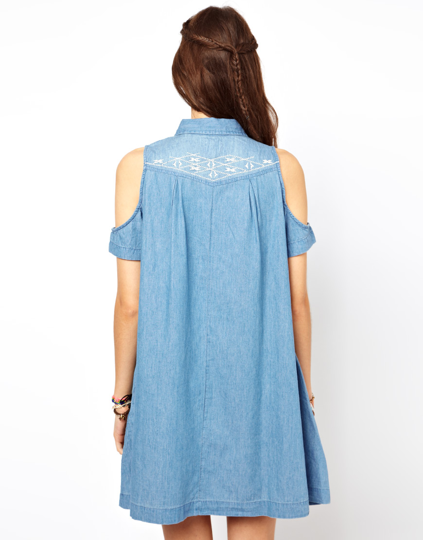 Asos embroidered denim dress with cold shoulder detail in
