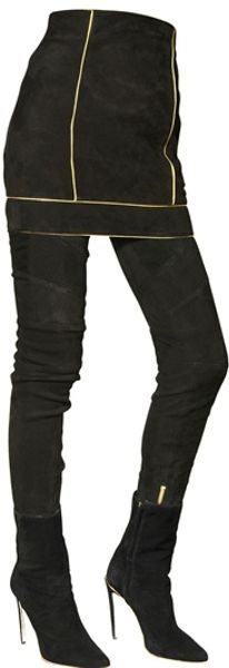 balmain gold contour suede leather skirt in black lyst