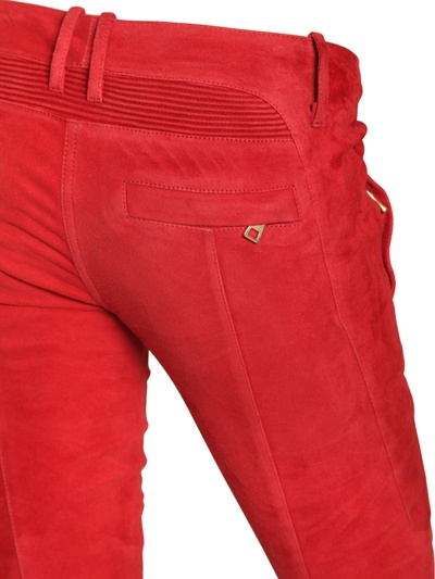 Balmain Quilted Stretch Suede Biker Jeans in Red