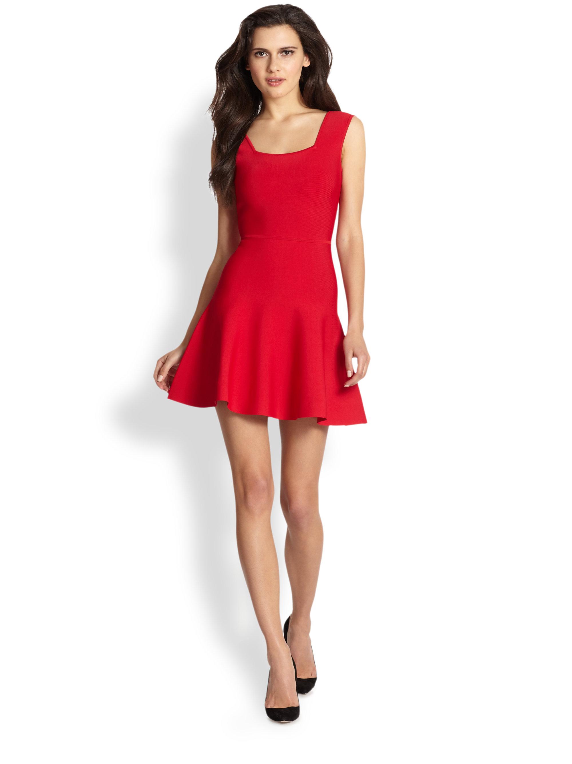 Bcbgmaxazria Cutout Back Stretch Knit Dress In Red Lyst