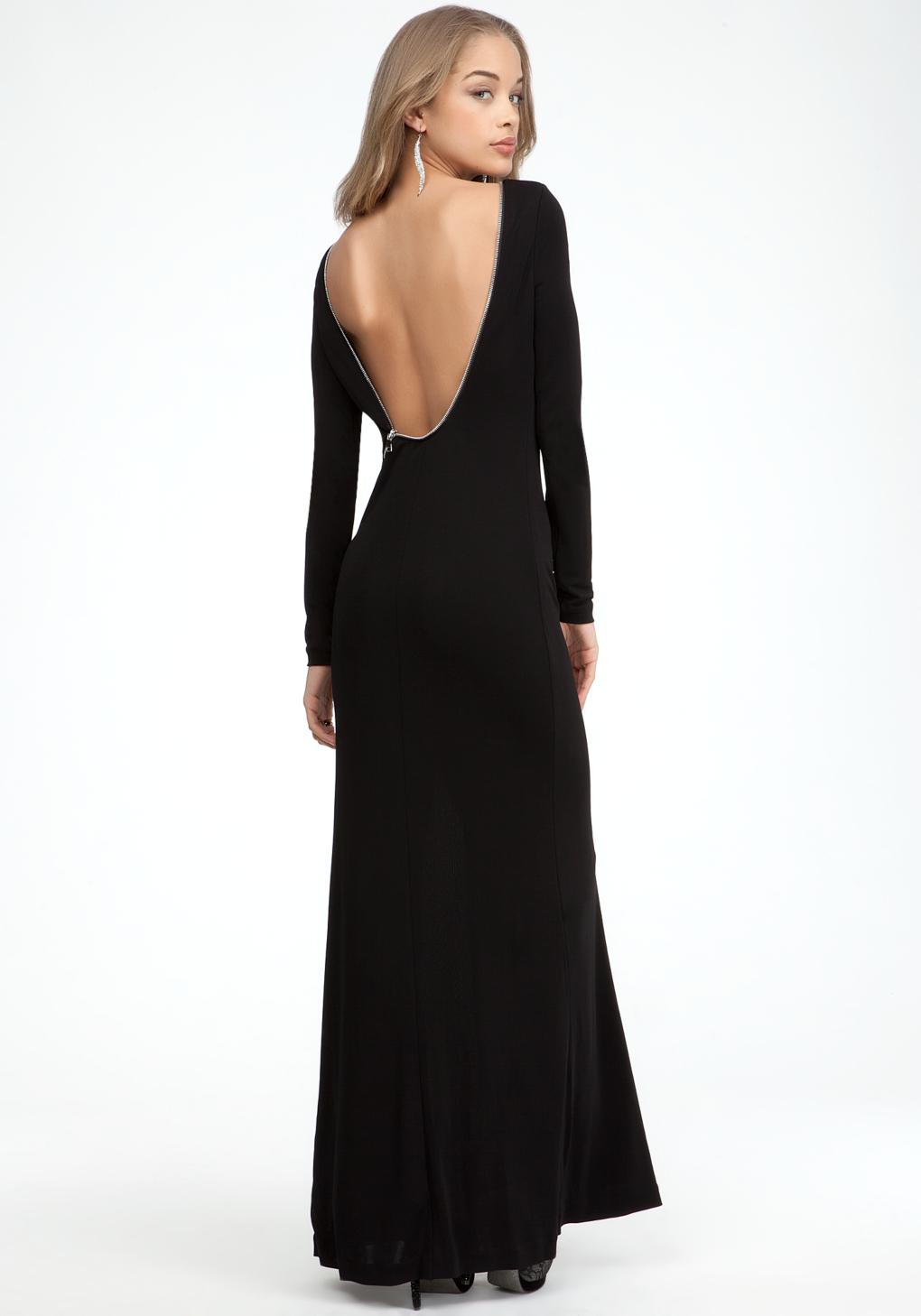 Bebe Full Length Zipper Back Dress In Black Lyst