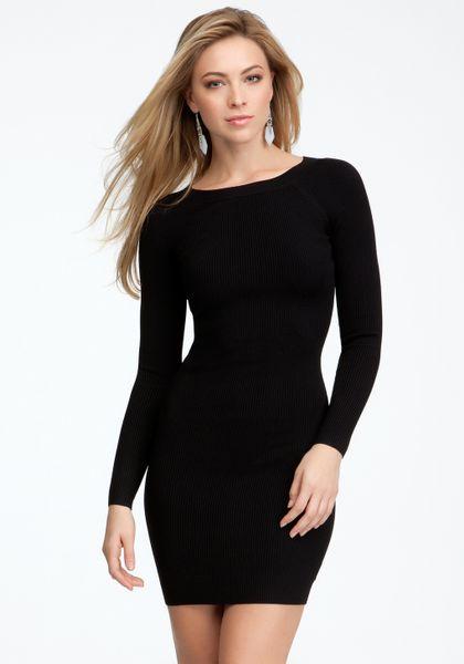 Bebe Long Sleeve Crew Neck Sweater Dress In Black Blk Lyst