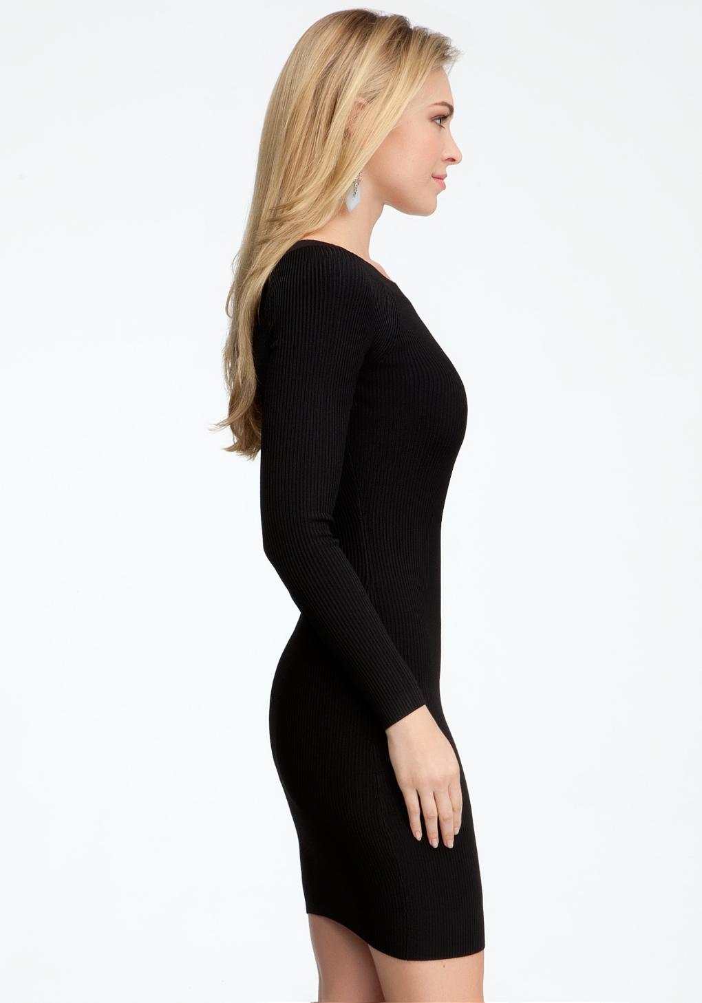 Bebe Long Sleeve Crew Neck Sweater Dress In Black Lyst
