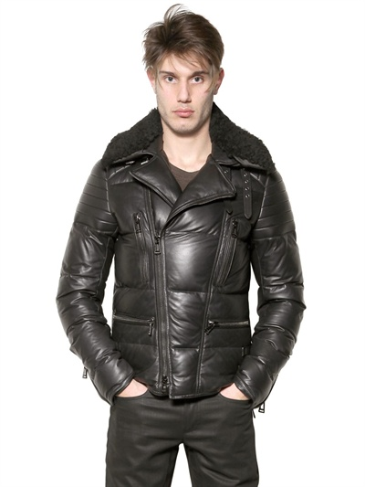 Belstaff Nappa Leather Down Jacket In Black For Men Lyst