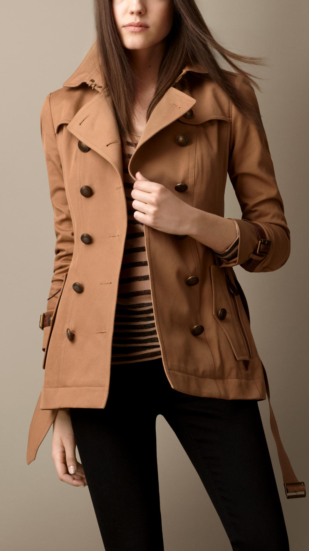 Burberry Short Lizard Detail Trench Coat In Brown