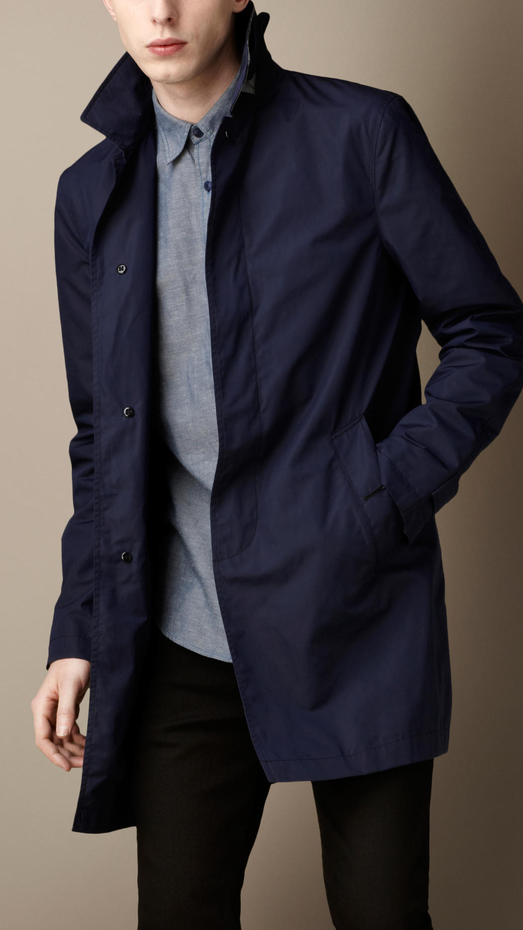 Burberry Lightweight Technical Car Coat in Blue for Men | Lyst