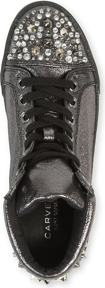 Carvela Kurt Geiger Loss Leather Trainers in Grey