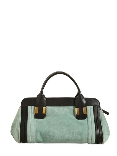 Chlo 233 Mini Alice Suede Top Handle Bag In Green Lyst