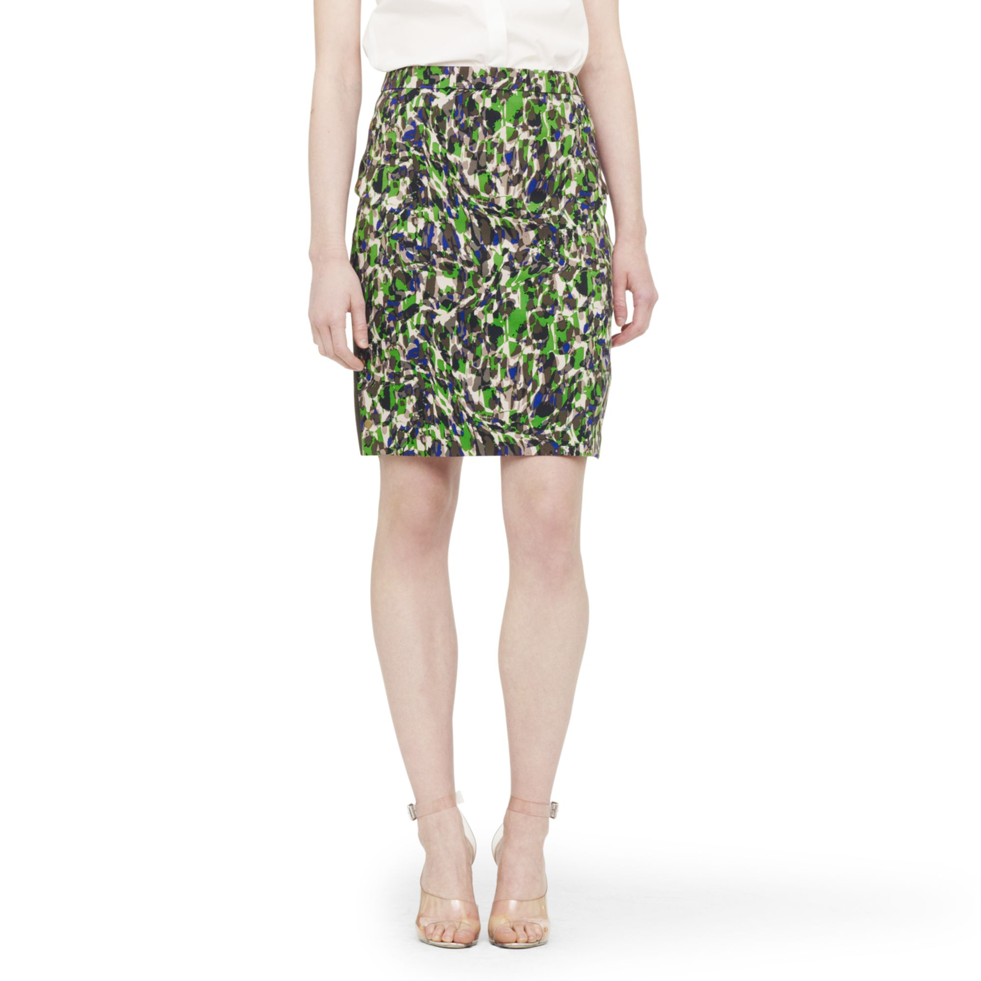 club monaco carey printed pencil skirt in green techno jungle print lyst