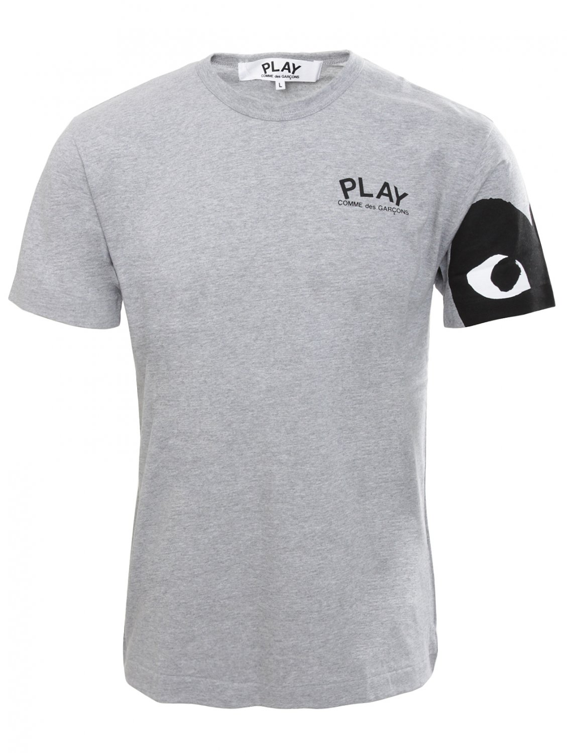 comme des gar ons play mens heart sleeve t shirt grey in. Black Bedroom Furniture Sets. Home Design Ideas