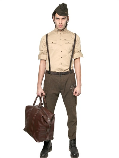 DSquared² 175cm Heavy Wool Cargo Trousers in Military Green (Brown) for Men