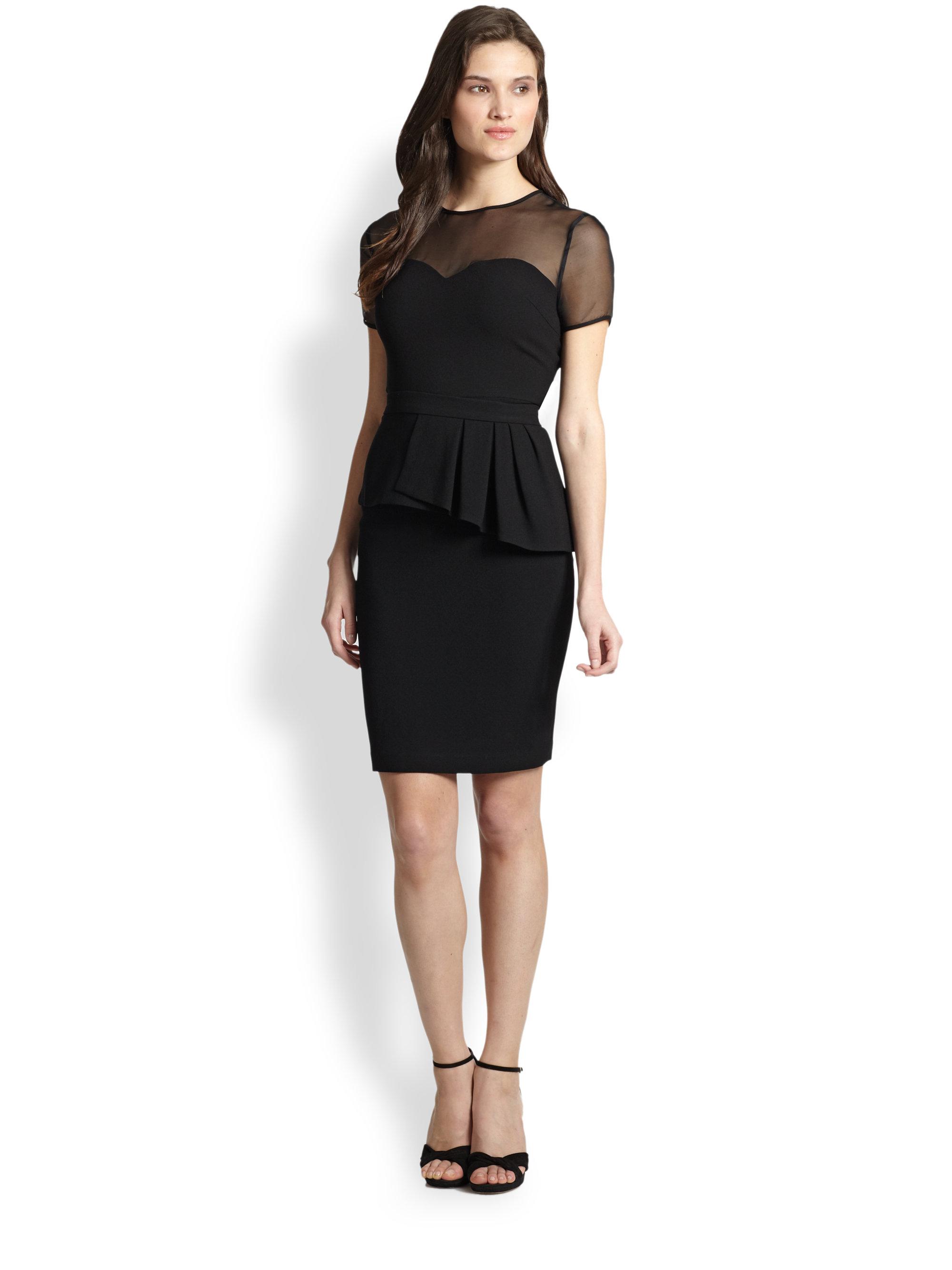 Elie Tahari Sheer Bodice Back Peplum Dress In Black Lyst