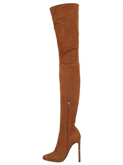 Emilio pucci 130mm Thigh High Stretch Suede Boots in Brown   Lyst