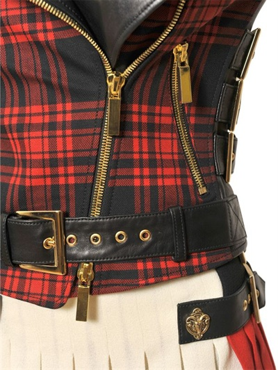 Fausto Puglisi Embroidered Nappa And Tartan Jacket Lyst