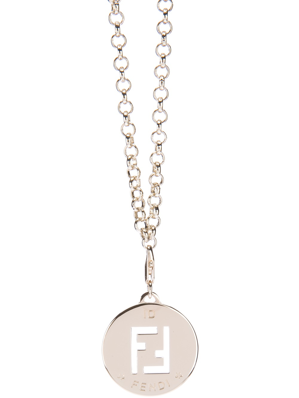 fendi logo pendant necklace in gold lyst
