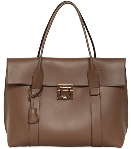 Ferragamo Large Sookie Nappa Top Handle Bag in Brown (dove beige ...