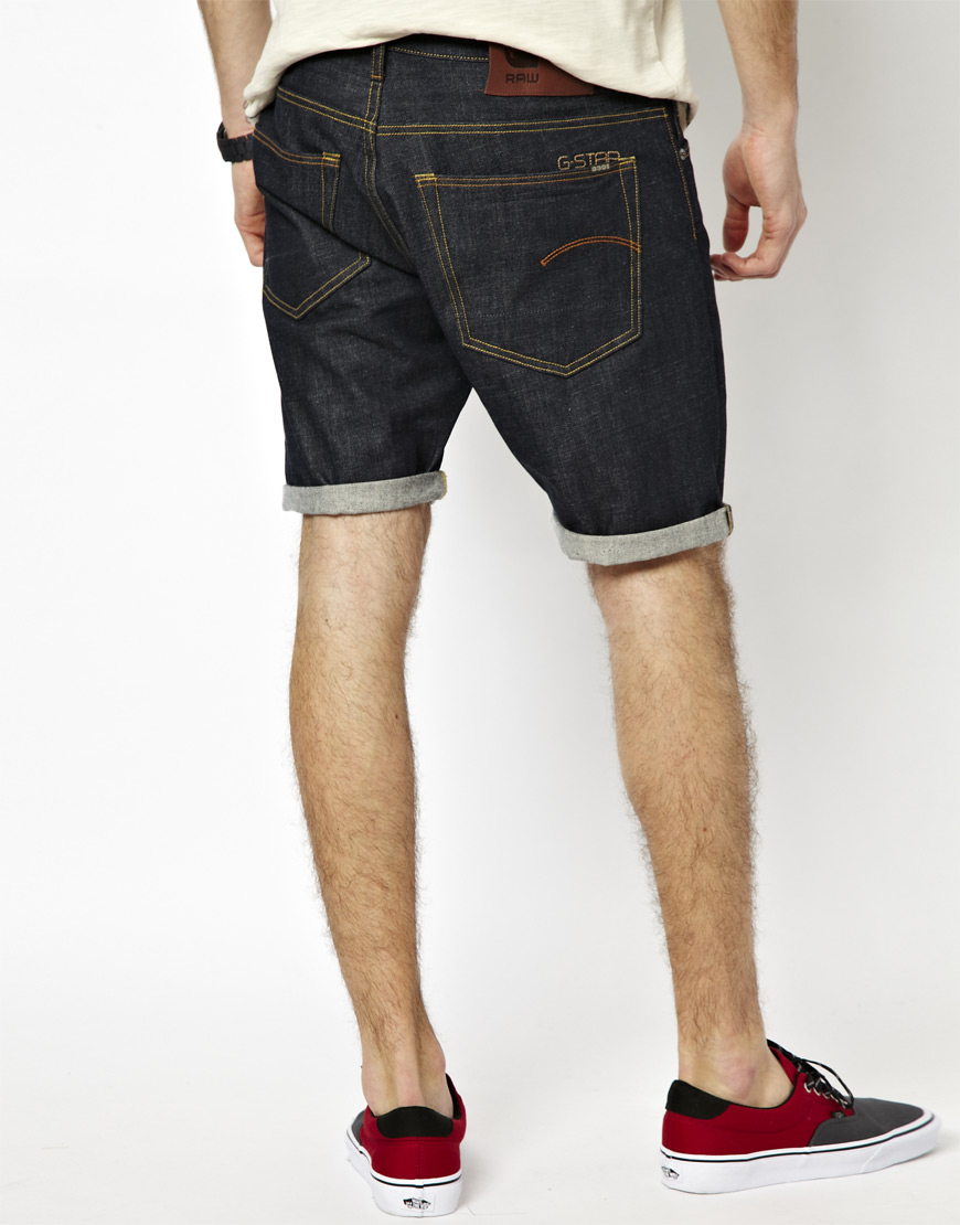 g star raw denim shorts straight raw in black for men raw. Black Bedroom Furniture Sets. Home Design Ideas