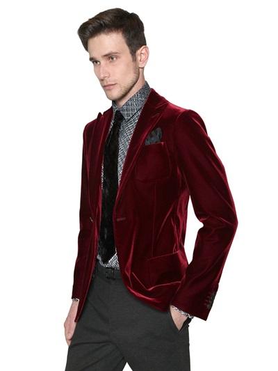Giorgio armani Velvet Jacket in Purple for Men | Lyst