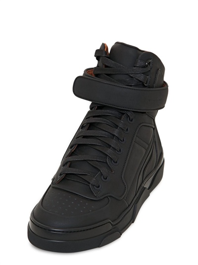 Givenchy 20mm Matte Calf High Top Sneakers in Black