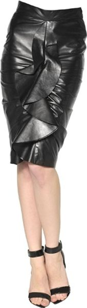 Givenchy Ruffled Plongé Nappa Leather Skirt in Black