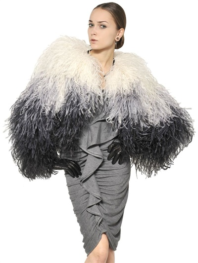 givenchy ostrich feather bolero fur jacket in white  multi