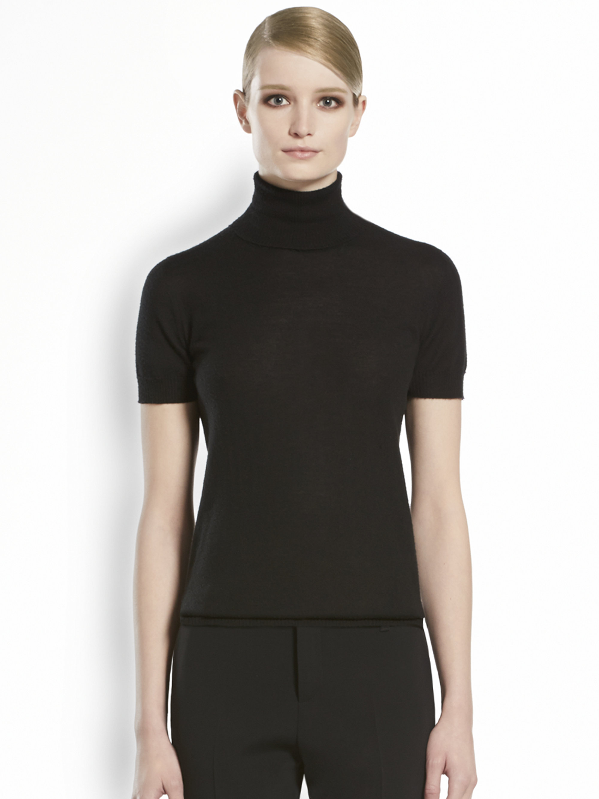 Gucci Cashmere Short Sleeve Turtleneck In Black Lyst