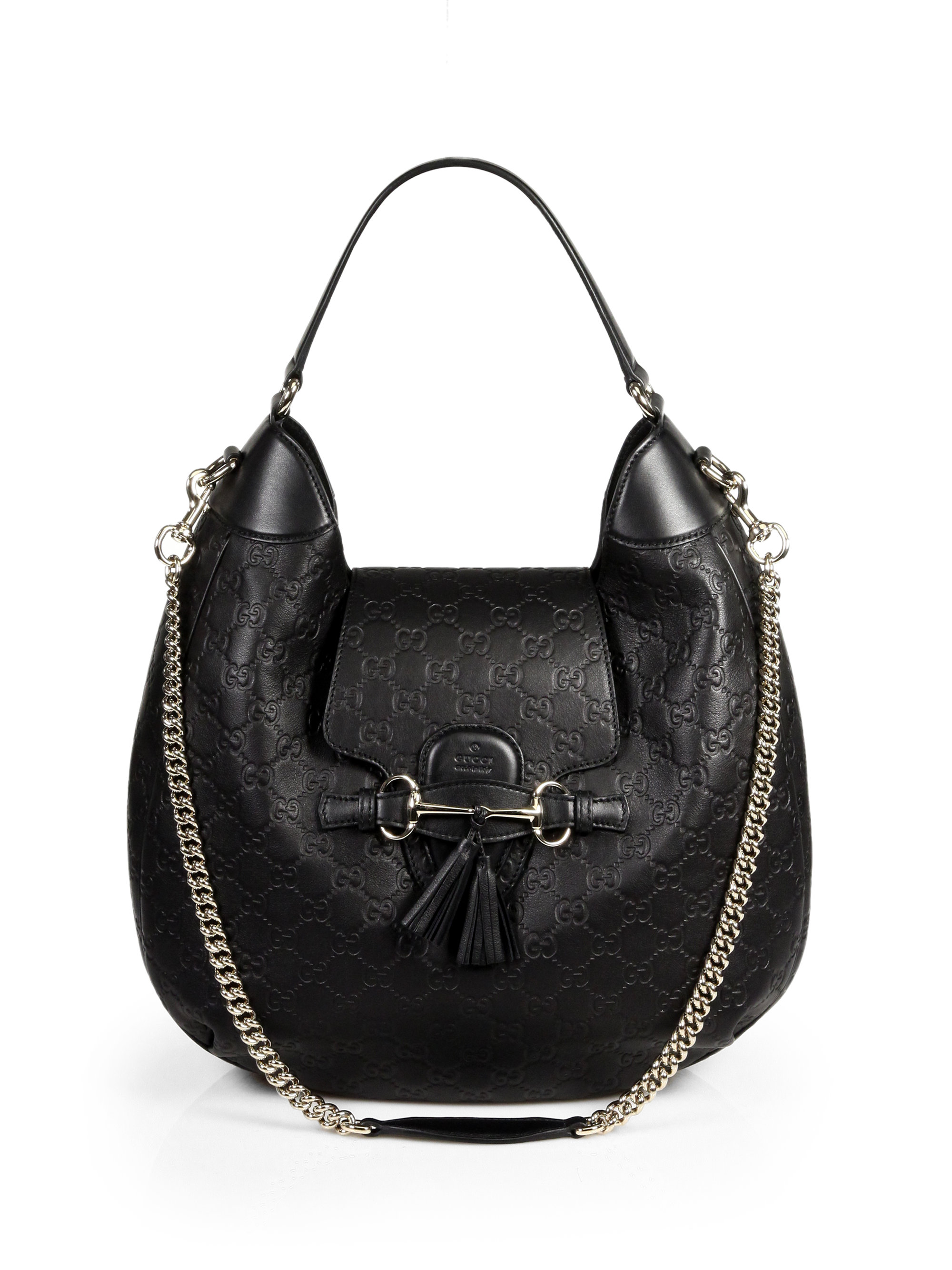 Lyst - Gucci Emily Leather Hobo in Black cced650be