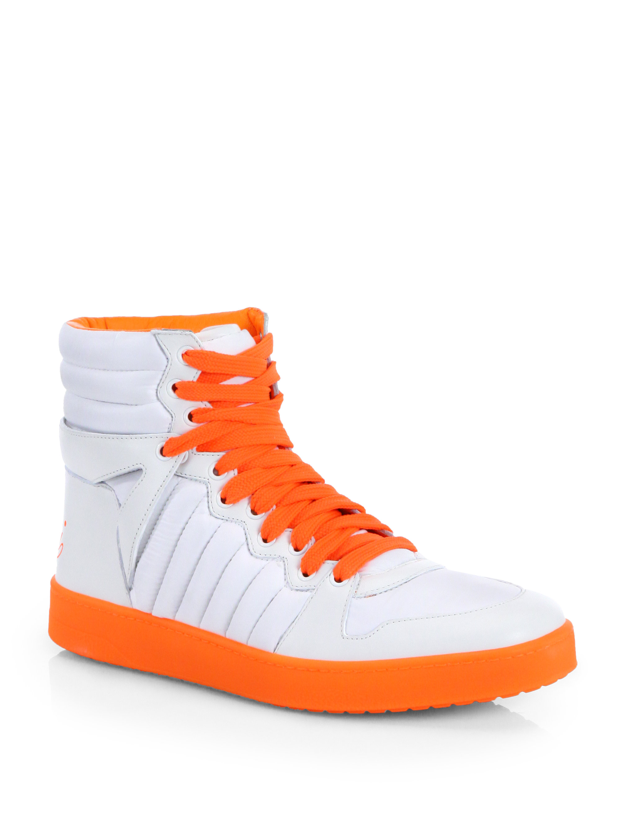 gucci hudson hightop sneakers in white for men white orange lyst. Black Bedroom Furniture Sets. Home Design Ideas