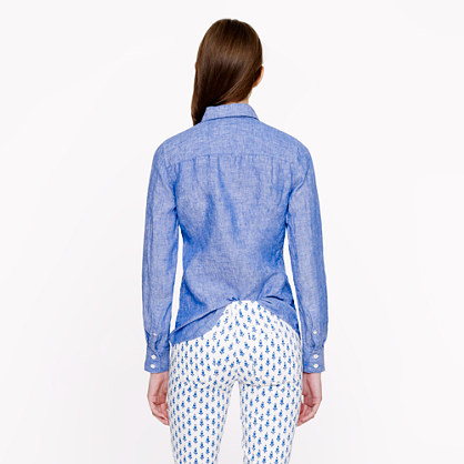 50696f41 J.Crew Perfect Shirt in Crosshatch Linen in Blue - Lyst