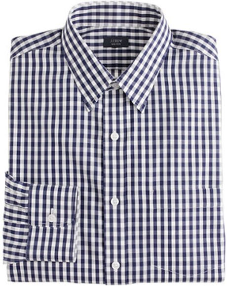 Slim Noniron Dress Shirt In Gingham In Blue For Men