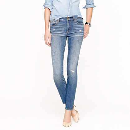 J.crew Midrise Toothpick Jean in Distressed Indigo in Blue | Lyst
