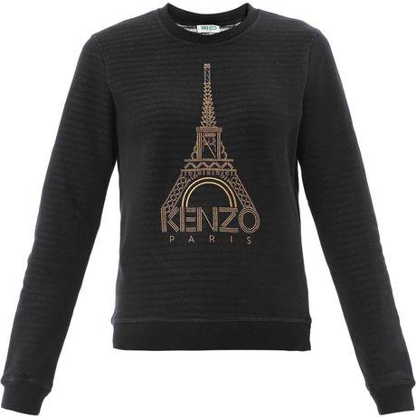 kenzo eiffel tower stripe sweater in black lyst
