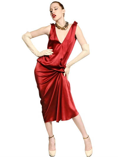 Lanvin Washed Silk Satin Dress in Red | Lyst