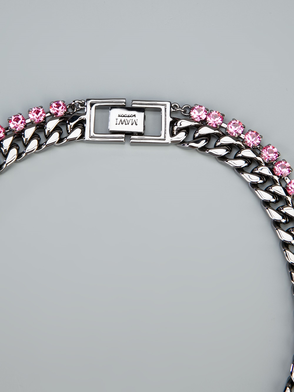 Mawi Spike Necklace with Crystals in Metallic (Pink)